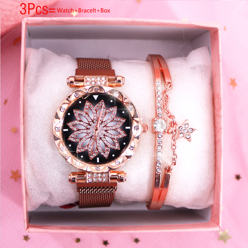 New Quartz Wrist Watch Bracelet Set Luxury Women's Watches Fashion Starry Sky Diamond Ladies Watch Female Clock Relogio Fminino