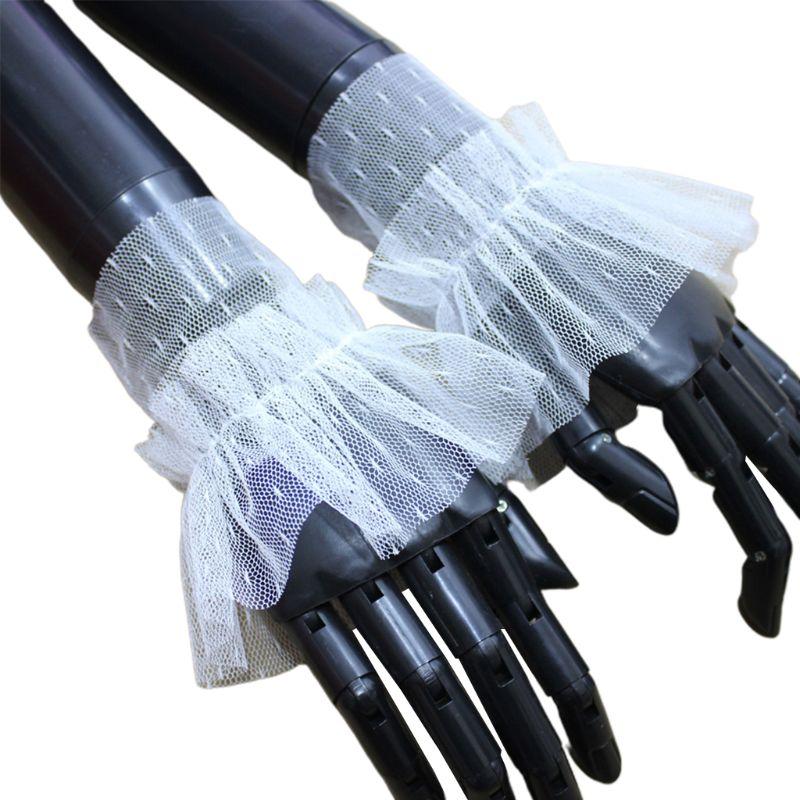1Pair Stretchy Wrinkled Flare Fake Sleeve Net Mesh Dot False Cuffs Women Decor 35EF