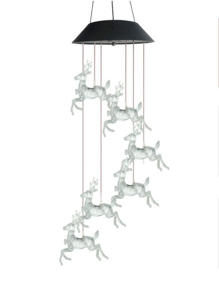 LED Solar String Light Wind Chime Lamp Colorful Christmas Deer Hanging Lights For Outdoor Garden Courtyard Decoration
