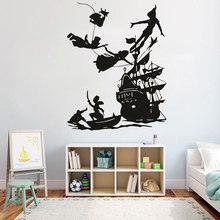 Peter Pan Wall Decal Boy dream Cartoon Decals Pirates Ship decor wall Sticker Kids room Bedroom waterproof vinyl G437