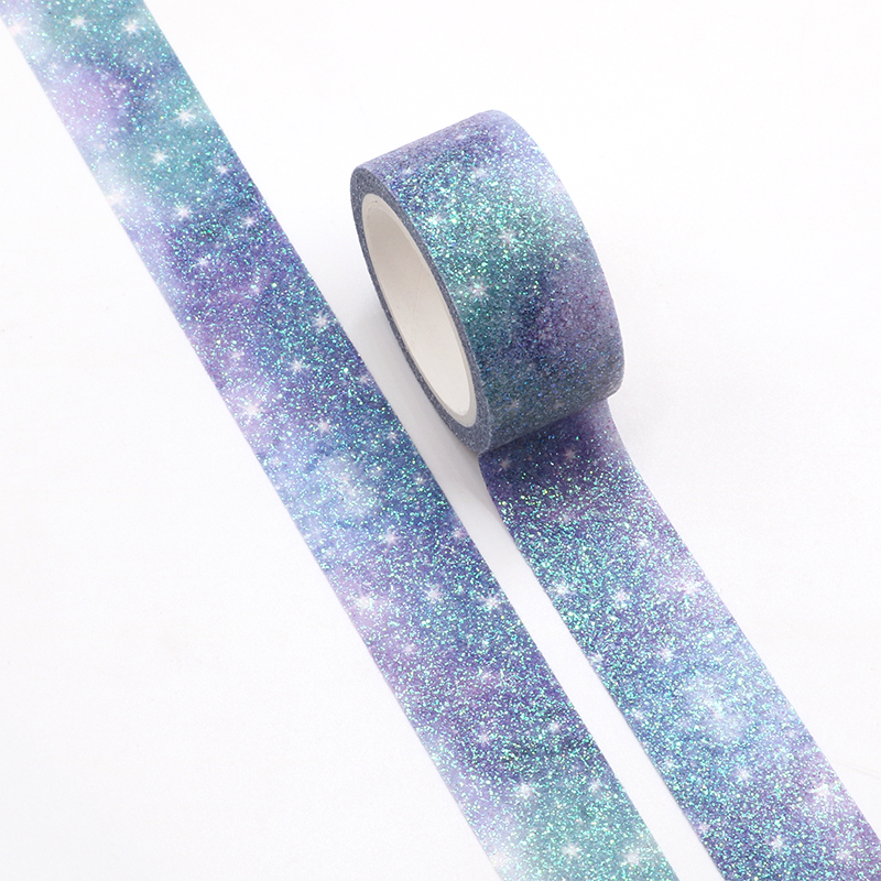 Starry Sky Sparkle Bullet Journal Glitter Washi Tape DIY Cute Decorative Adhesive Tape Scrapbooking Sticker Label Stationery