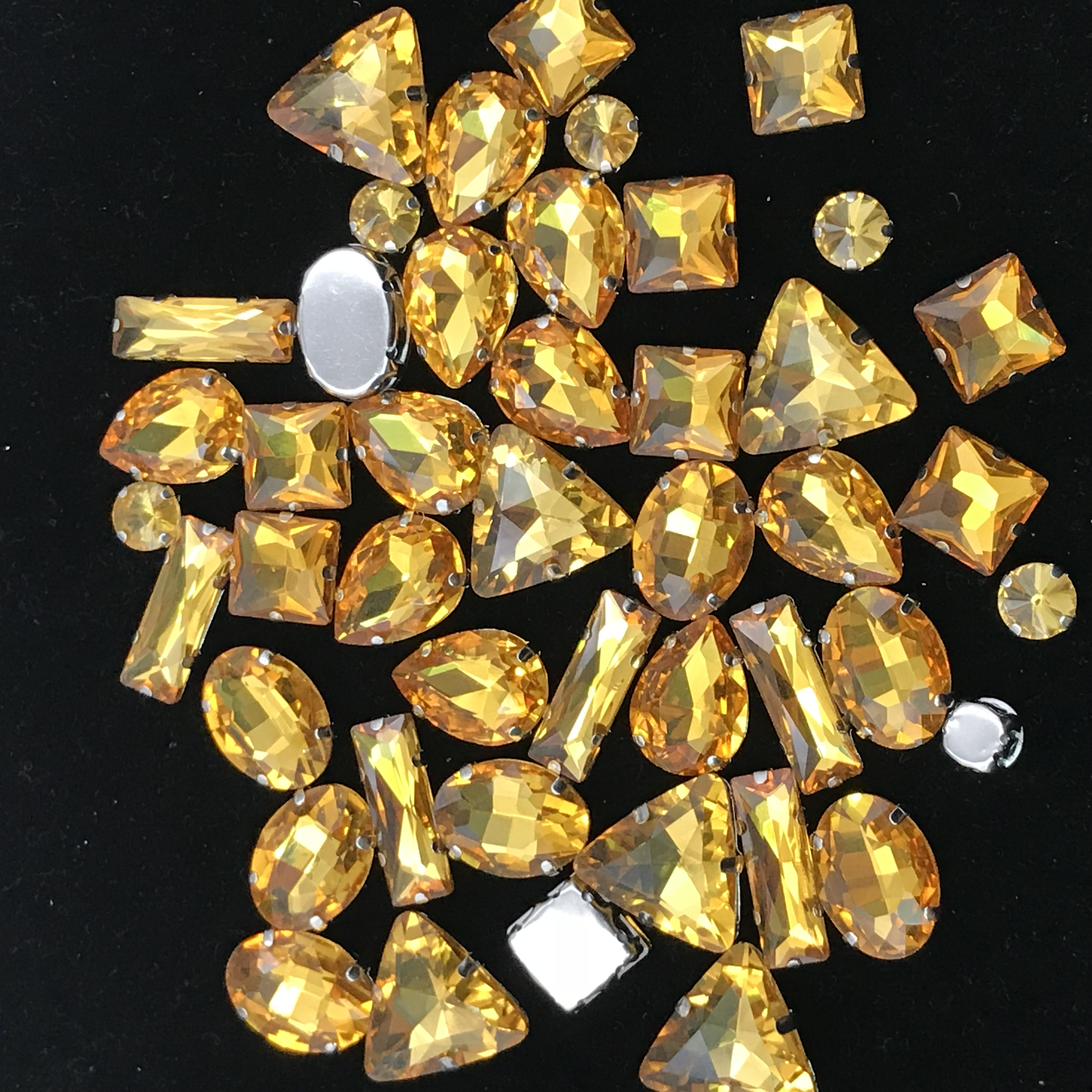 50pcs Topaz Mix Shape Glitter Crystal Colorful sew on Rhinestones with Claw for Wedding dress DIY clothing shoes in Rhinestones from Home Garden