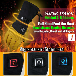 Image 3 - Mountitec 探検 4 電気加熱された手袋リチウム電池自己発熱タッチスクリーンゴートスキンスキー手袋防水乗馬 guantes