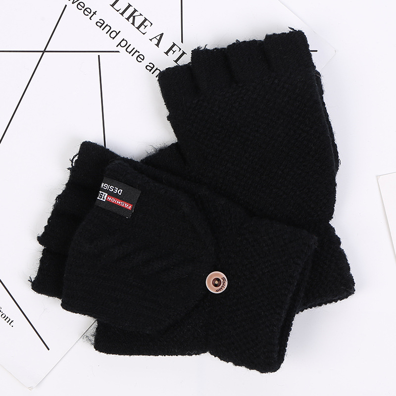 Half-finger Gloves Men's Flip Dress Gloves Imitation Cashmere Outdoor Riding Warm Gloves