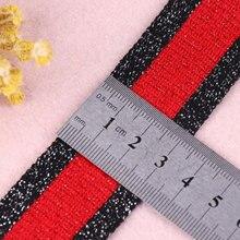5M/lot 35mm Silver Red Black stripe ribbon cuffs bias tape s