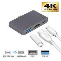 USB 3.1 Para HDMI Tipo C Adaptador 3 Em 1 USB-C 4K Multiport Porto De Carregamento Conversor NOVA