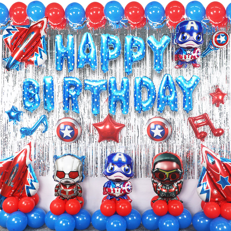 Marvel The Avengers Toys Spider-Man Captain America Children's Birthday Party Decoration Celebration Aluminum film Balloons 2A02 image