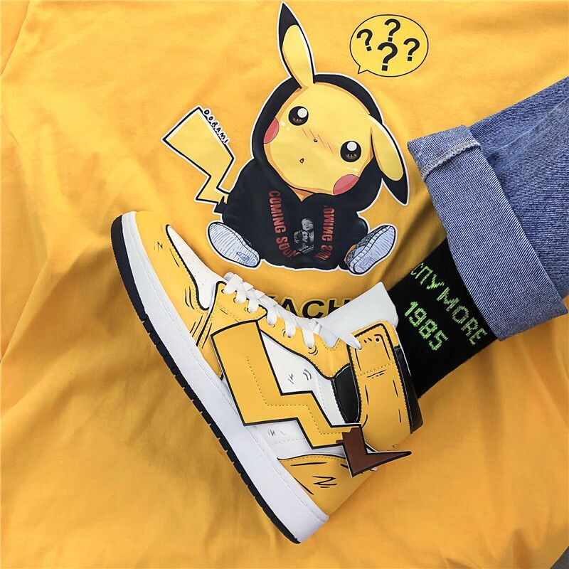 New Winter Shoes Men Boots Pikachu Pokemon Design Element Sneakers