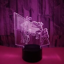 Play Volleyball Athlete LED Night Light Fixtures Volleyball Fans Gifts 7Color 3D Lamp For Kids Sports Gifts