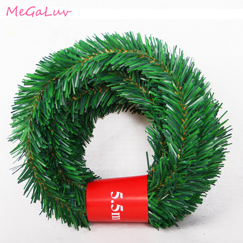 5.5M Pine Needle Rattan Vine Christmas Pendant Decoration Ornaments Xmas Party Hanging Tinsel Green Leaf Garden Xmas image