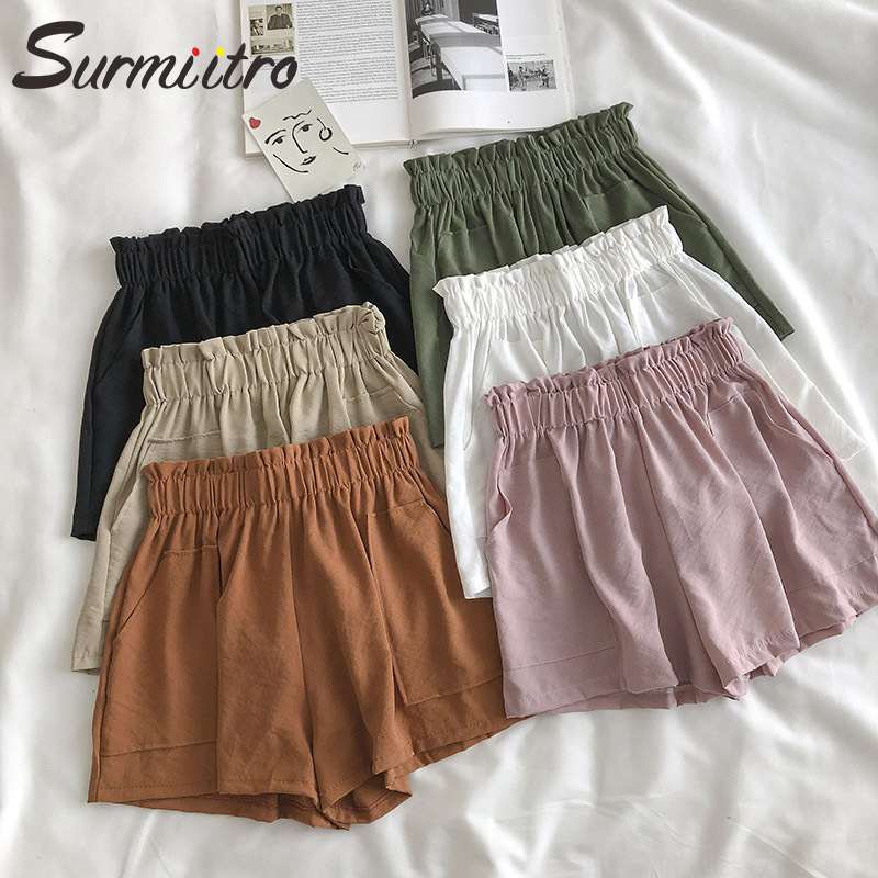 Surmiitro Korean Summer Shorts Women 2020 Ladies Casual High Waist Shorts Femme White Black Wide Leg Shorts Female Short Pants