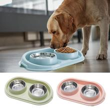 Stainless steel dog bowl, double cat  pet food  splash-proof water bowl for s and cats  feeder 8in1 cat stain and odor exterminator nm jfc s