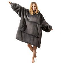 Sudaderas con capucha de manta polar de gran tamaño para Mujer, Sudadera con capucha, manta con bolsillo con mangas, Sudadera jerséis Sherpa para Mujer
