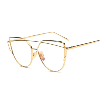 Women Vintage Cateye Eyeglasses Frame Metal Myopia Optical Eyewear Transparent Lens Comfort Light Spectacle