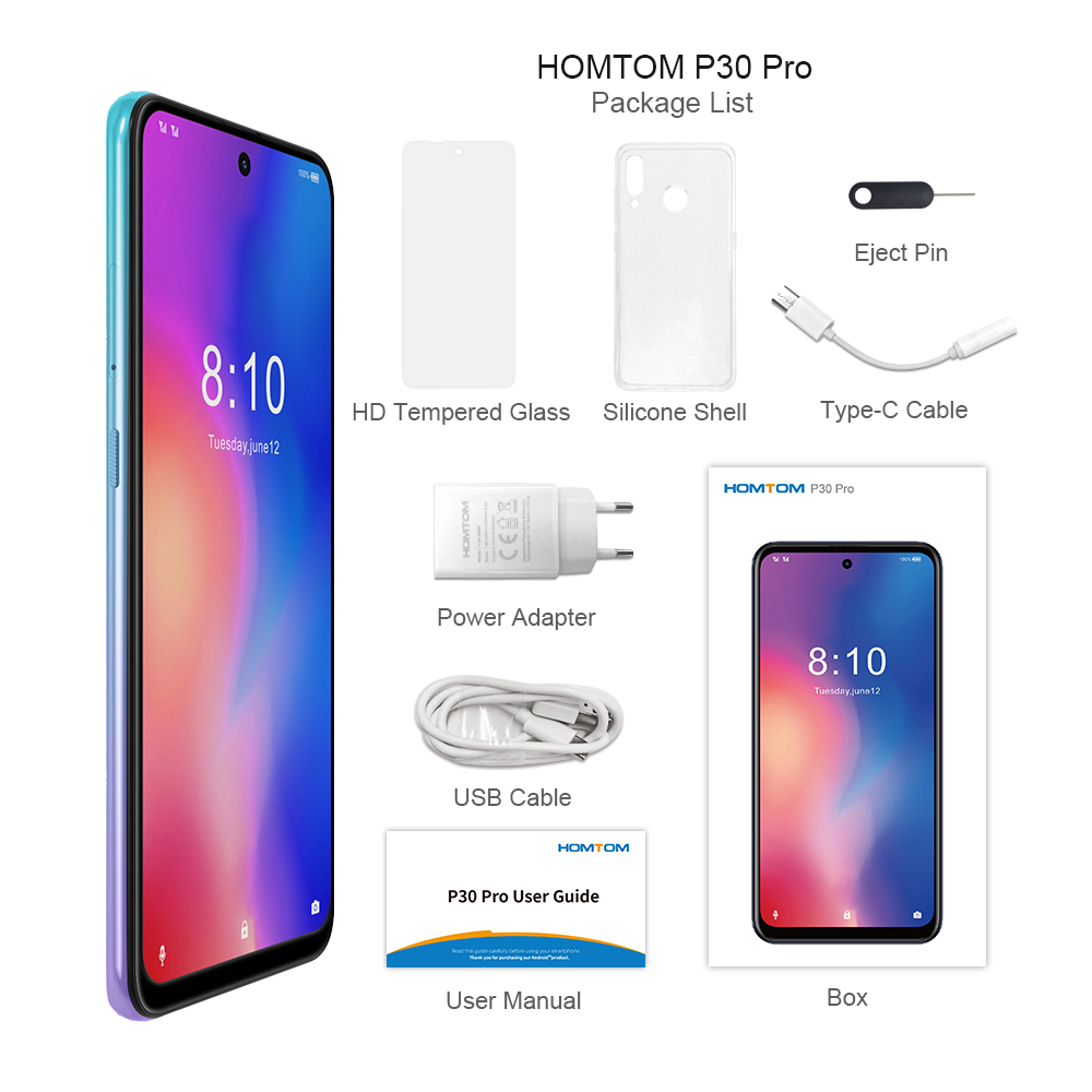 Image 5 - HOMTOM P30 pro Android 9.0 4G Mobile Phone MT6763 Octa Core 4GB 64GB 4000mAh 6.41 inch Face ID 13MP+ Triple Cameras Smartphone-in Cellphones from Cellphones & Telecommunications