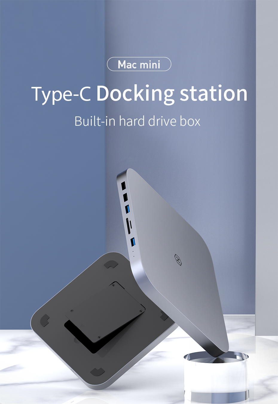 USB-C Hub with SATA Hard Drive Enclosure