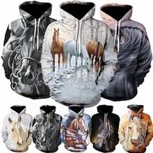Cavalo pattren 3d hoodies moda casual sweatshirts solto manga comprida moletom com capuz para a primavera outono