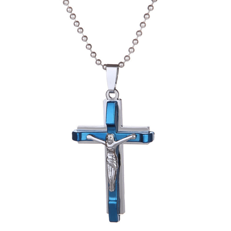 14k Yellow Gold Simple and Classic Cross Crucifix Pendant Cuban Necklace