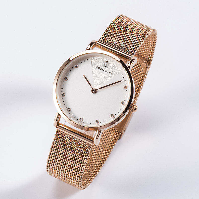 BOBOBIRD Ladies Wristwatch Rose Gold Simple Romantic Women's Watch Mesh Stainless Steel Clocks High Quality Movement L-T01