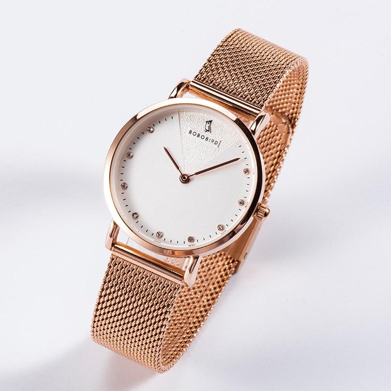 BOBOBIRD Ladies Wristwatch Rose Gold Simple Romantic Women's Watch Mesh Stainless Steel Clocks High Quality Movement L-T01