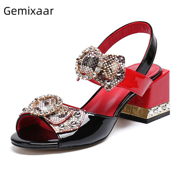 Serpentine Butterfly-knot Ankle Strap Sandals Women Jeweled Rhinestone Heel Open Toe Crystal Summer Shoes Woman