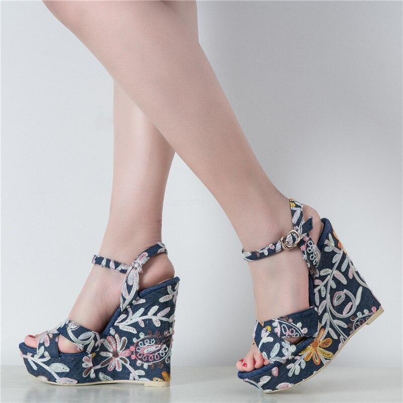 YECHNE Summer Women High heels Sandals Woman Hooks Shoes Denim Borumen Platform Women Wiggen Sandals Zapatos Mujer Blue