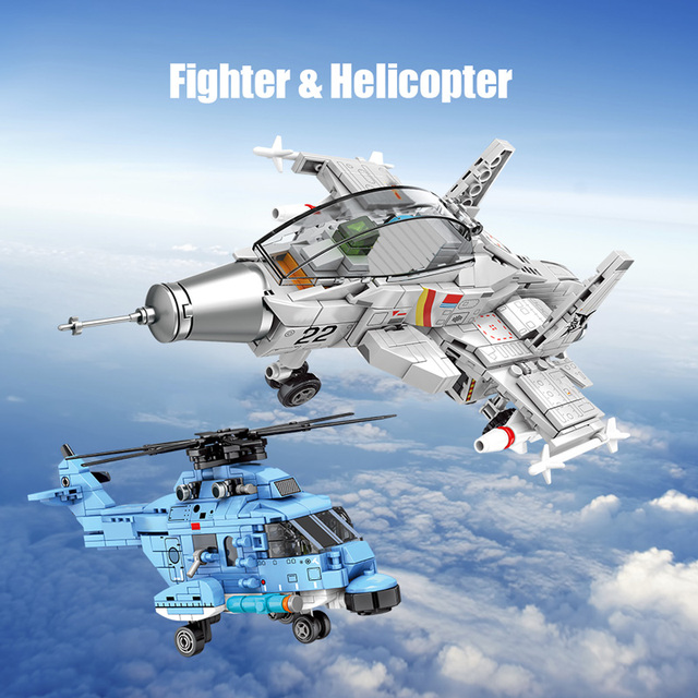 Military Helicopter Bombers Model Building Blocks City Police Aircraft Swat Army Fighter Technic Construction Bricks Kids Toys