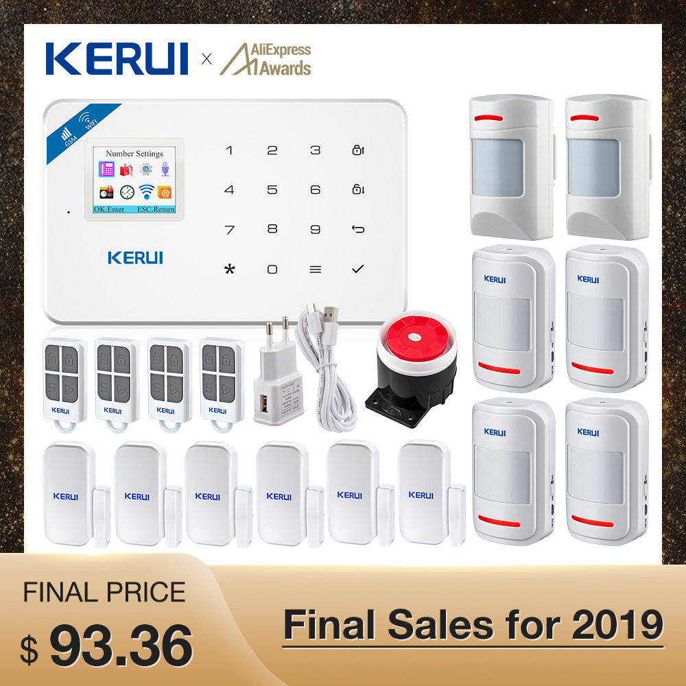 Kerui W18 Wireless Wifi GSM Alarm IOS Android APP Control GSM SMS Wifi Home Burglar Alarm System Pet Immune Movement Pet Motion