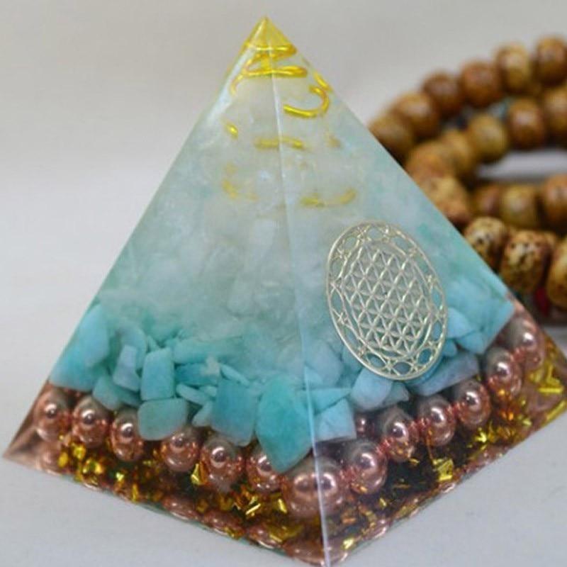 Natural  Tianhe Stone Crystal Orgonite Pyramid Energy Decoration Handmade Resin Decorative Craft Jewelry Bring Chakra Gift