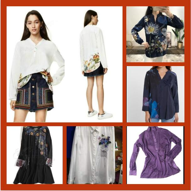 Spanish Desigual's new embroidered shirt print long sleeves slim body jacket V collar personality jacket to show temperament
