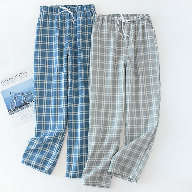 Men's Cotton Gauze Sleeping Pants Plaid Sleep Trousers Mens Grid Pajamas Bottoms Soft Sleepwear Male Pyjama Homewear 2020 Spring