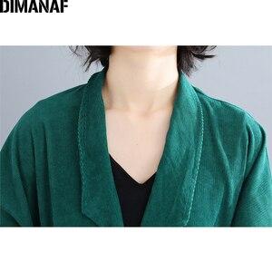 Image 5 - Dimanaf jaquetas femininas plus size longo casaco de veludo outono inverno tamanho grande cardigan roupas femininas solto oversized outerwear 2021
