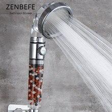 Zenbefe um botão para parar cabeças de chuveiro água poupança de água chuveiro à mão spa ajustável 4 função alta pressão cabeça de chuveiro