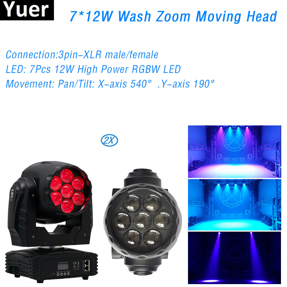 2Pcs/Lot Professional DJ Disco Stage Lighting 7x12W RGBW DMX512 Sound Control  LED Moving Head Light For Club Bar Party Light