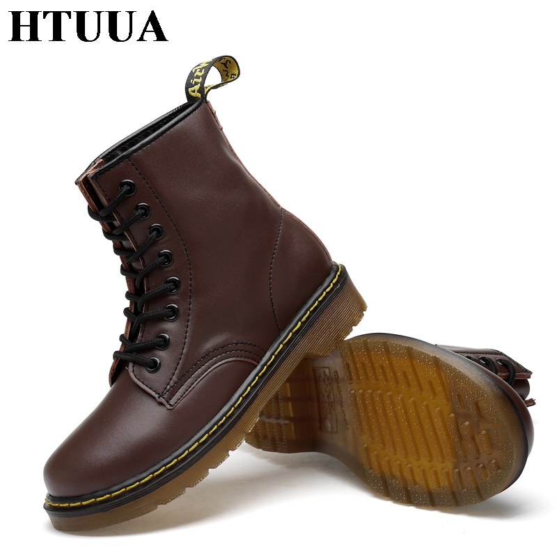 Image 5 - HTUUA 35 46 Genuine Leather Women Boots Fall Winter Warm Fur Ankle Martens Boots Woman Couple Casual Dr. Motorcycle Shoes SX3348-in Ankle Boots from Shoes