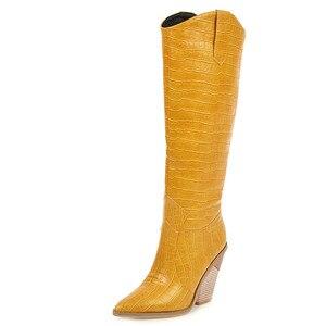 Image 2 - FEDONAS Botas occidentales de piel sintética para mujer, zapatos hasta la rodilla, para Club nocturno, de tacón grueso, talla grande, para invierno