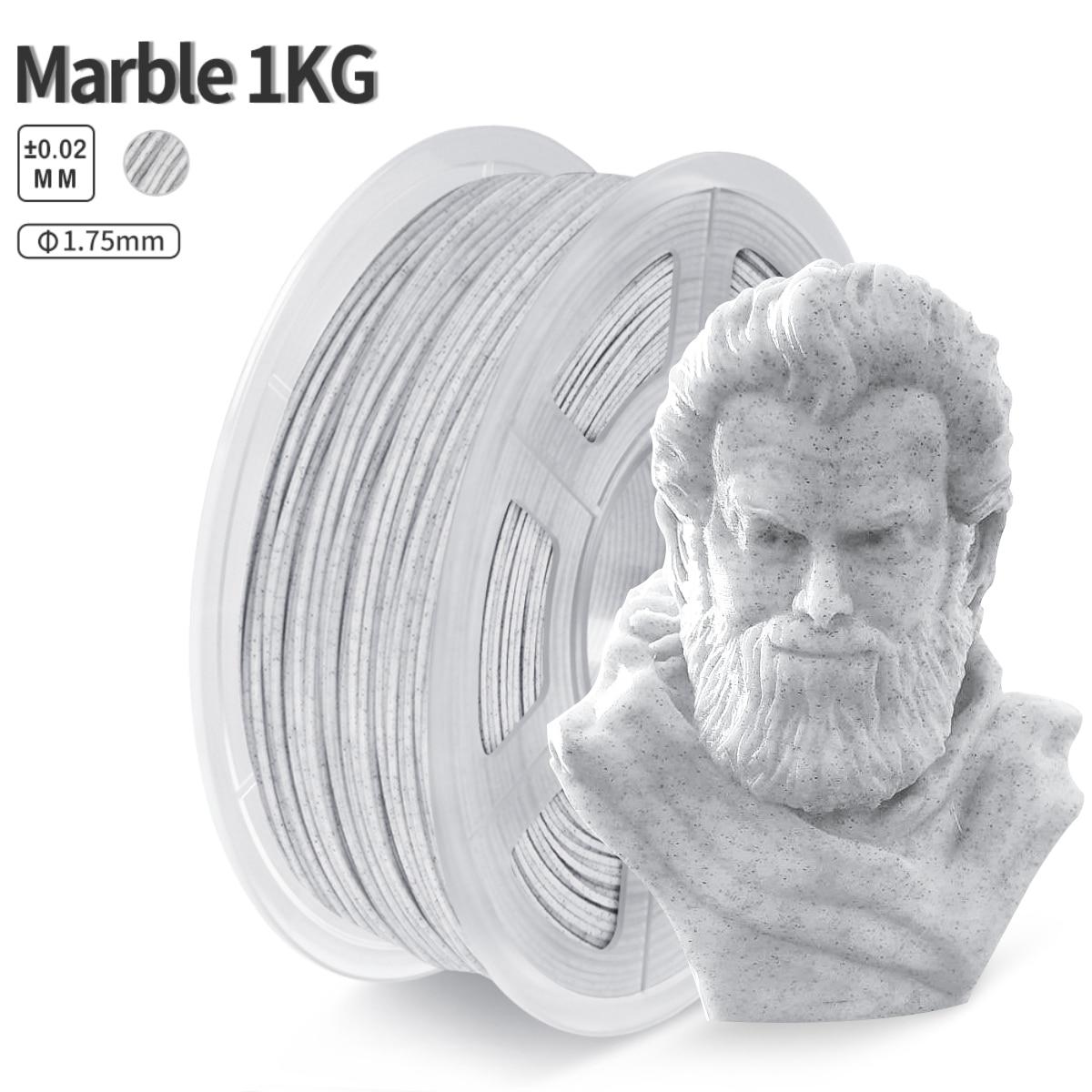 Filamento de mármore do pla do transporte rápido 1.75mm 1kg pla 3d filamento efeito de mármore tolerância +/-0.02mm rocha 3d materiais de impressão