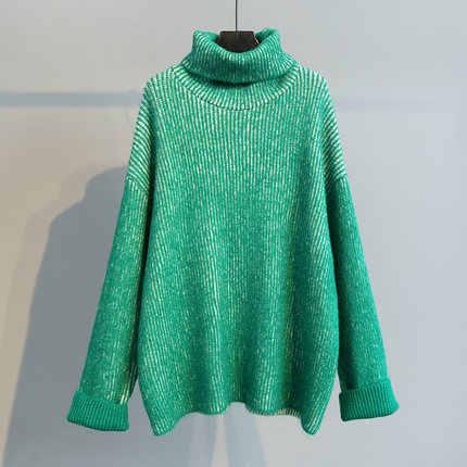 Jersey verde de cuello alto para mujer de H.SA 2019, jersey de manga larga liso de talla grande, jerséis gruesos de invierno, prendas de punto coreanas