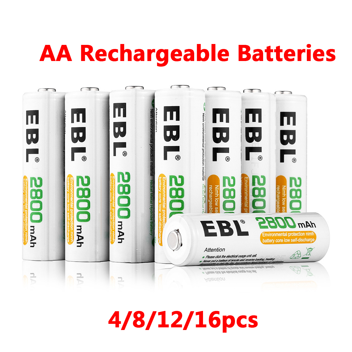 EBL 1.2V Rechargeable-Battery 2800mAh AA Battery Pre-charged Ni-MH Rechargeable Batteries Bateria For Camera Flashlight