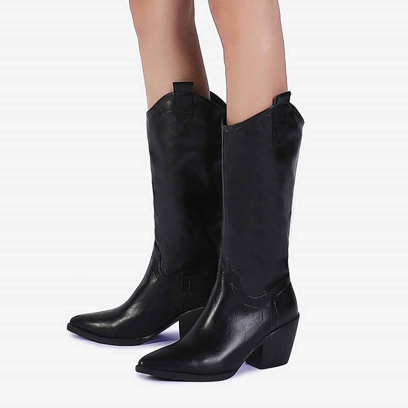 Preto Branco Calcanhar Robusto Botas de Cowboy Ocidental Botas de Moda Feminina Dedo Apontado Mulher Moda Joelho Botas Altas Senhoras Sapatos de Conforto