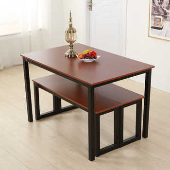 120 x 76 x 76cm Simplistic Iron Frame Dining Table Teak Color Writing Computer Desk