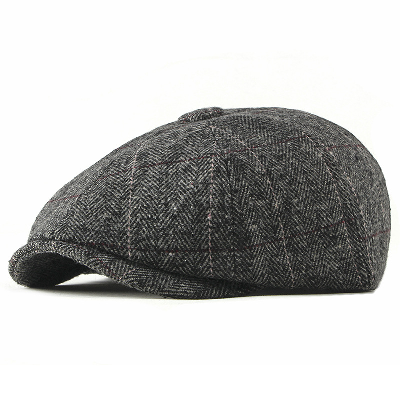 Wool Newsboy Caps Men Herringbone Flat Caps British Gatsby Cap Autumn Winter Woolen Driving Hats Vintage Hat