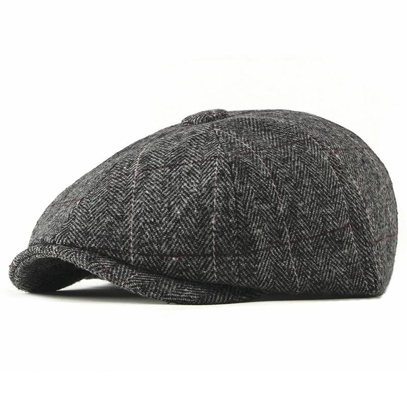 Wool Newsboy Caps Men Herringbone Flat Caps British Gatsby Cap Autumn Winter Woolen Driving Hats Vintage Hat