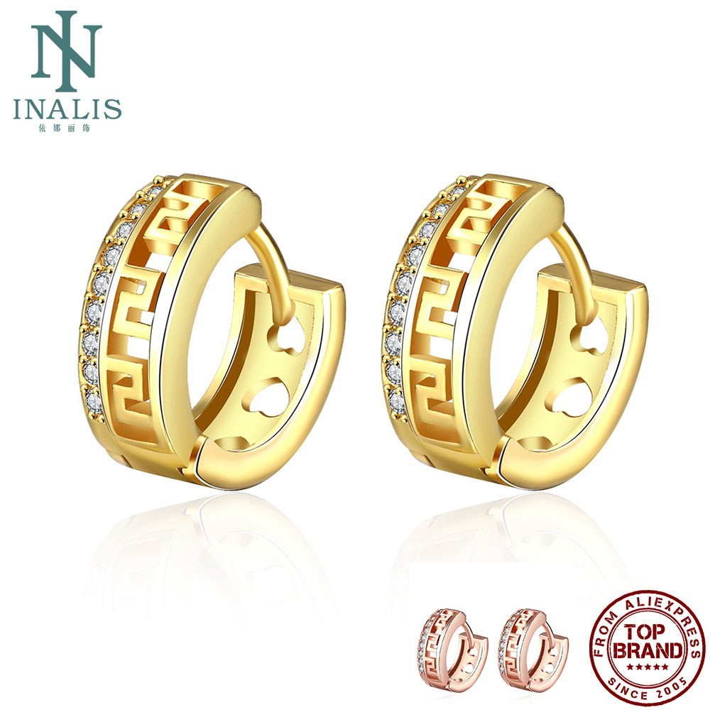 INALIS Earrings For Women Round Hollow Cubic Zirconia Copper Stud Earring 2 Colors Hot Selling Fashion Jewelry Party Girl Gift