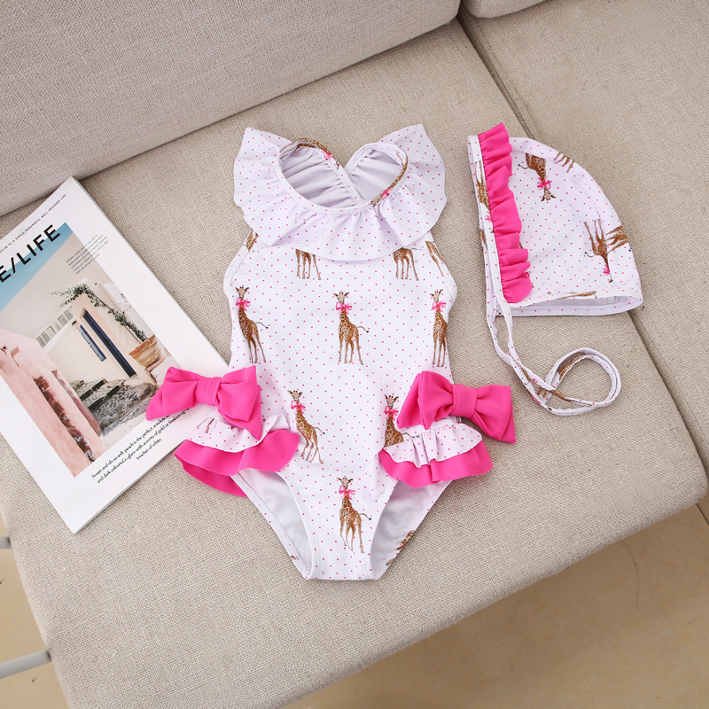 INS Baby KID'S Swimwear Girls Bubble Hot Spring Small CHILDREN'S Big Boy Cute One-piece Swimming Suit Bow Bathing Suit