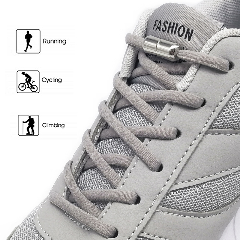 SOBU New Elastic No Tie Shoelaces Metal Lock Shoe Laces For Kids Adult Sneakers Quick Shoelaces Semicircle Shoestrings