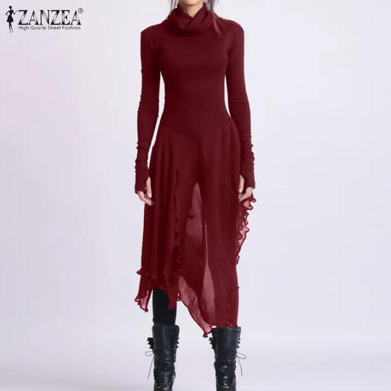 ZANZEA Fashion Women Chiffon Pacthwork Blouse Spring Turtleneck Asymmetrical Shirt Casual Solid Long Tops Slim Blusas Chemise