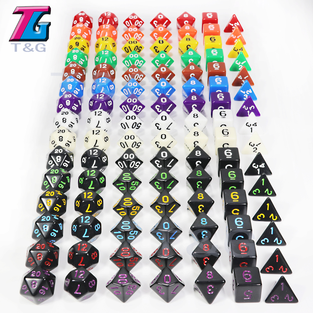 Top Quality 7Pcs/Set Acrylic Polyhedral TRPG Games For Dungeons Dragons Opaque D4-D20 Multi Sides Dice Pop For Game Gaming
