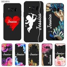 Peacock flower Custom Your Name DIY Black Soft TPU Silicon Case Cover For Samsung Galaxy S5 S6 S7 S8 S9 S10 S10E Lite Edge Plus