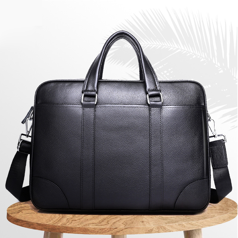 "Large Leather Messenger Satchel Shoulder 13 15.6 17/"" Laptop Bag Briefcase office"